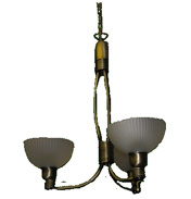 3 Lamp Fitting Antique Brass Finish with Glass Shades GM 192 3AN