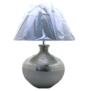 Silver Ceremic Table Lamp & Silver Shade